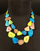 Canoa 2-STRAND Lime/Turquoise Tagua Necklace