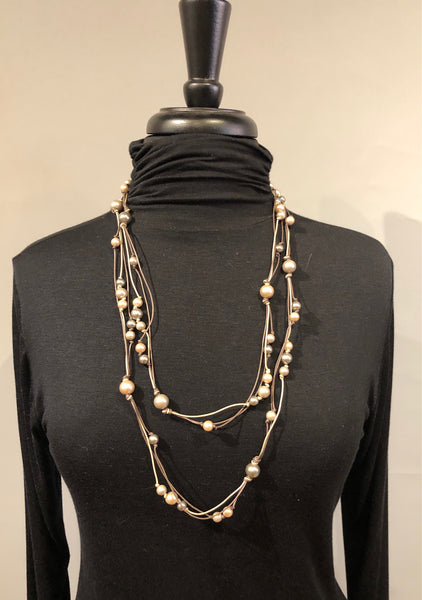 Escape From Paris WCB249N Cocoa Cord Infinity Multi Mocha Pearl Necklace