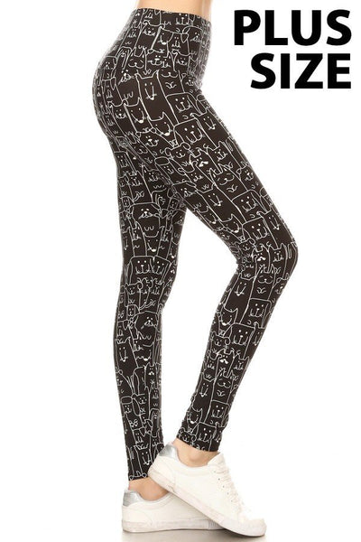 Leggings Depot PLUS Blk/Wht Cat/Dog LDXR924W