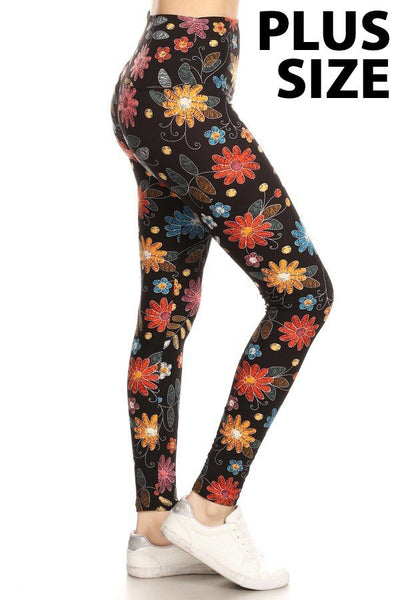 Leggings Depot PLUS Blk/Flower LY5XS758