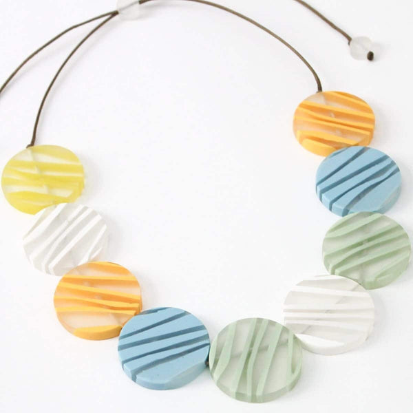 Sylca Multi Pastel Zebra Necklace AE20N01-1