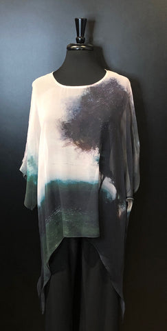 Cocoon House Silk Top with Long Points - Evening Mist