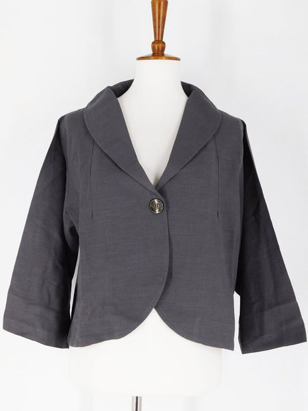Pure Fit Mao Mam One Button Bolero - Solid - Charcoal 20061-CH