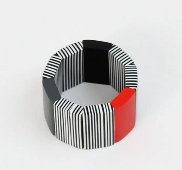 Sylca Black, White and Red Alice Bracelet