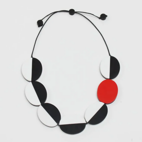 Sylca Black, White, and Red Double Sided Carmen Necklace