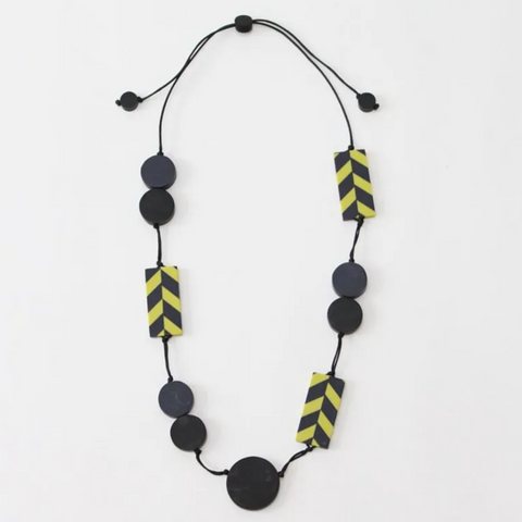 Sylca Lime and Navy Felicia Necklace
