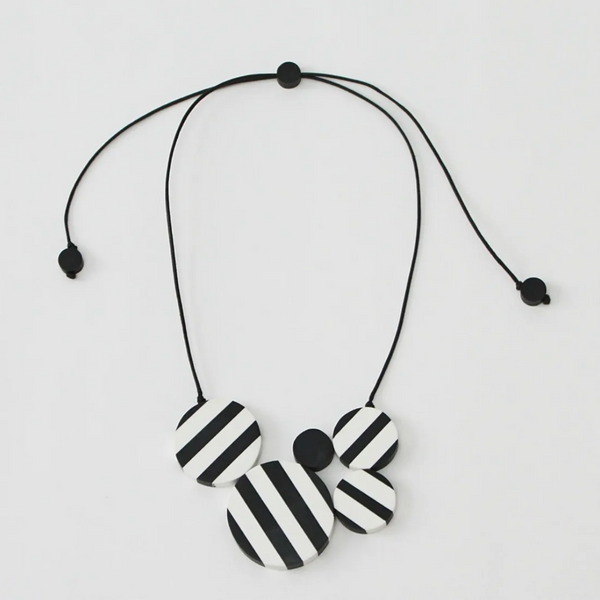 Sylca Black and White Striped Clara Pendant Necklace