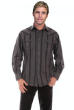 Scully Men's Western Shirt - Grey with black stripes - PS238