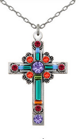 Firefly 8795TEAL Large Ornate Cross Necklace Teal