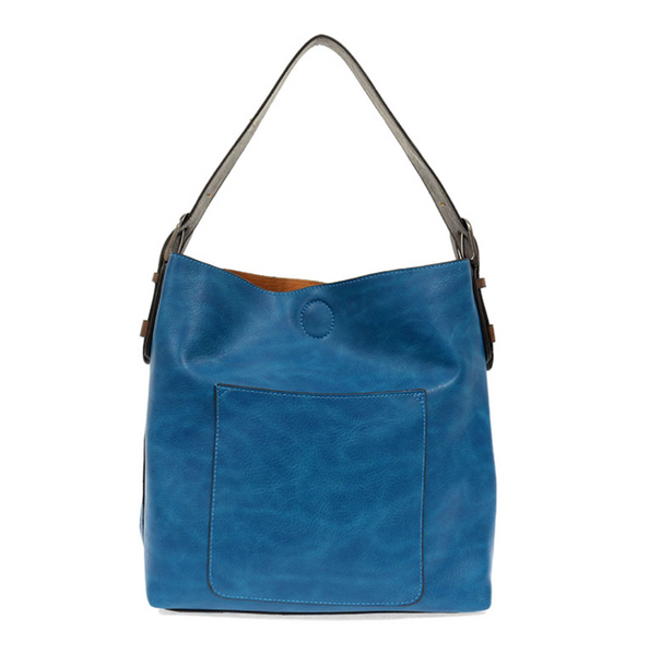 Joy Susan Hobo Bag - Deep Aqua/Coffee & Silver Buckle L8008-80S