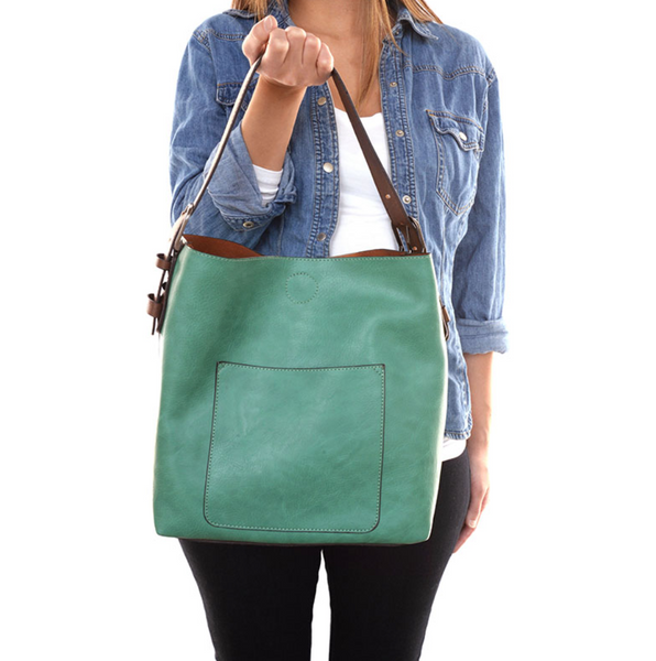 Joy Susan Hobo Bag - Sea Glass/Coffee & Silver Buckle L8008-73S