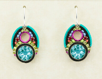 Firefly 7799MC Earring Large Chrystal Drop Multicolor