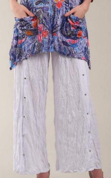 Shana WHITE Crinkle Snap Button Pants