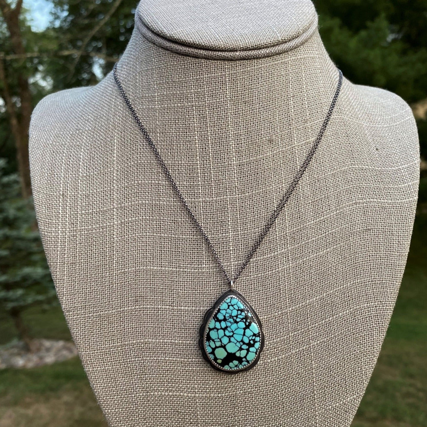 Hubei Turquoise Teardrop Pendant Necklace