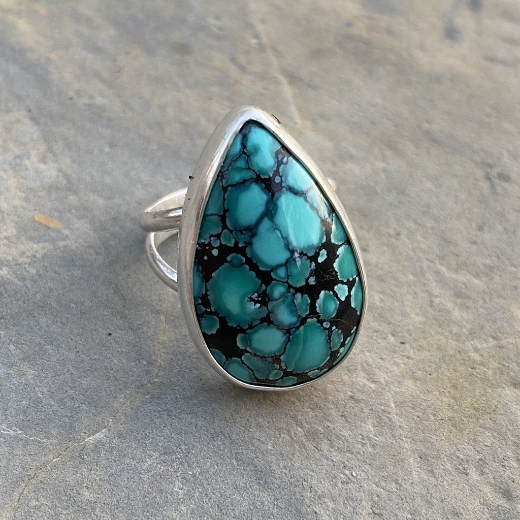 Blue Black Spiderweb Hubei Teardrop Ring