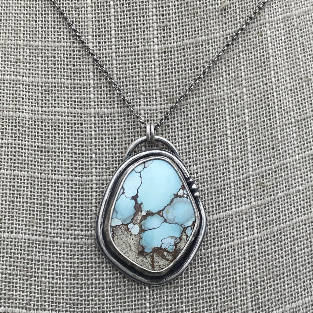 Gobi Desert Lavender Turquoise Pendant Necklace ~ The Red Winged Blackbird