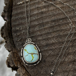Gobi Desert Lavender Turquoise Pendant Necklace ~ The Raven