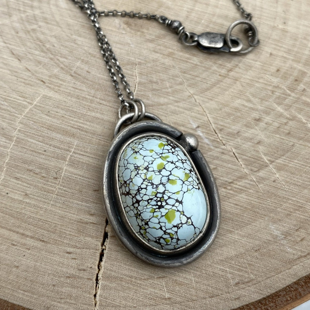Gobi Desert Lavender Turquoise Pendant Necklace ~ The Crow