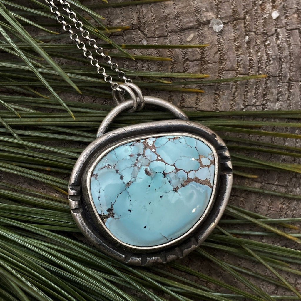 Gobi Desert Lavender Turquoise Pendant Necklace ~ The Hummingbird