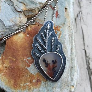 Dendritic Agate and Sterling Silver Branch Pendant Necklace