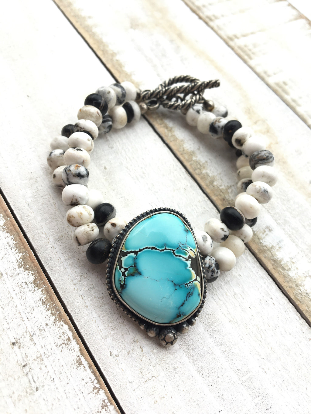 Blue Moon Turquoise and White Buffalo Beaded Bracelet
