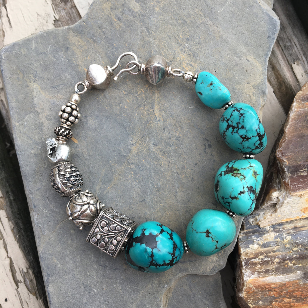 Turquoise Nugget and Bali Silver Beaded Bracelet