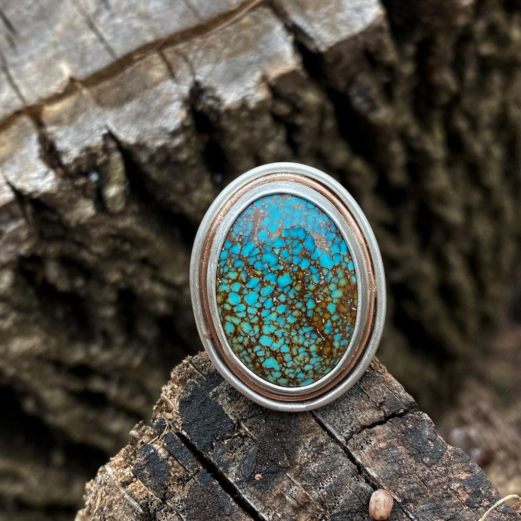 Turquoise Mountain Wide Band Ring with Copper