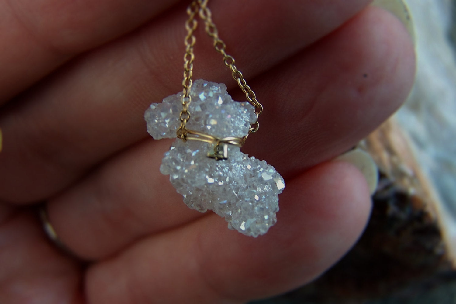 Freeform Crystal Pendant Necklace | Druzy Crystal Quartz Pendant Necklace