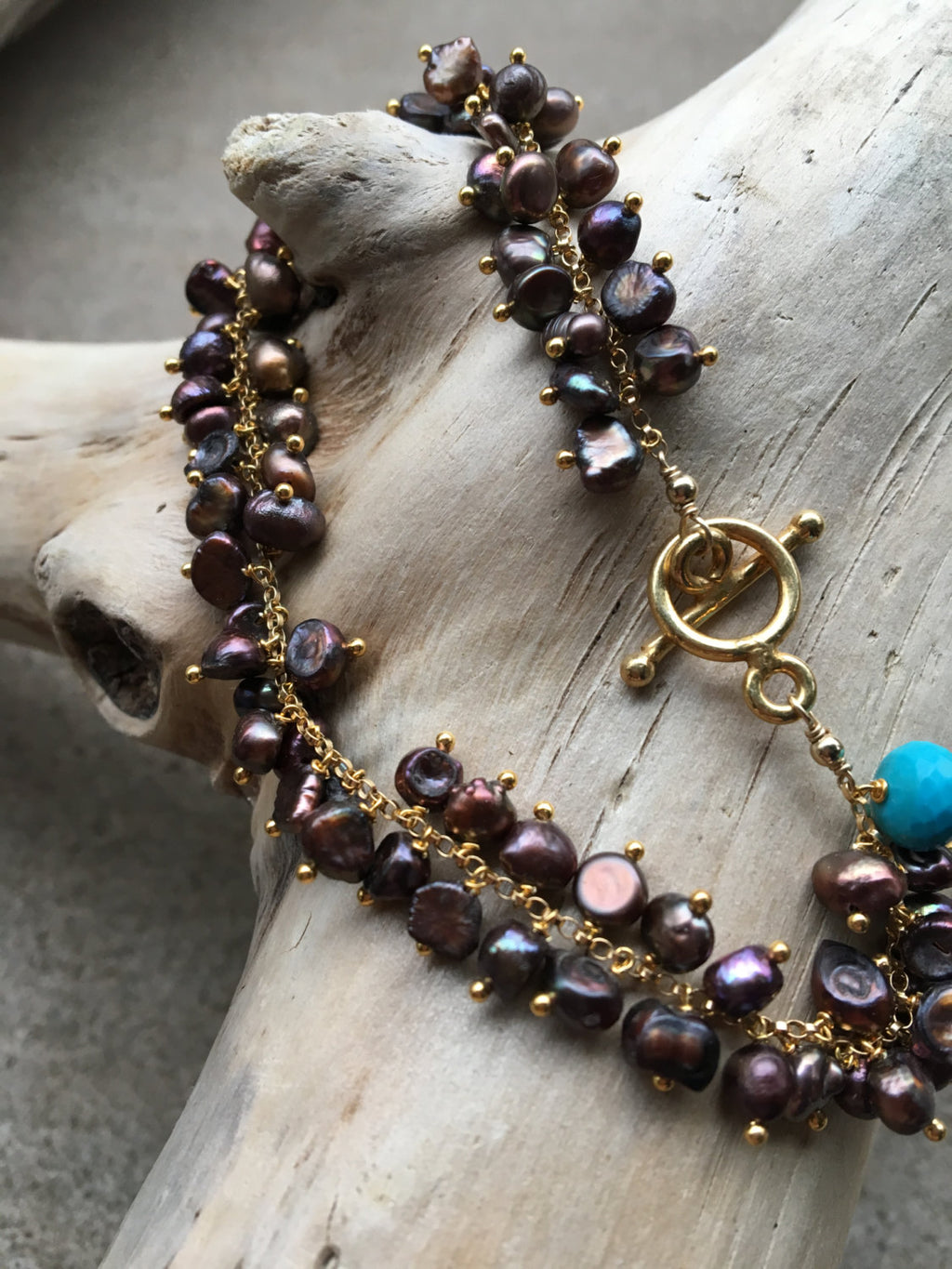 Chocolate Iridescent Pearl & Turquoise Bracelet