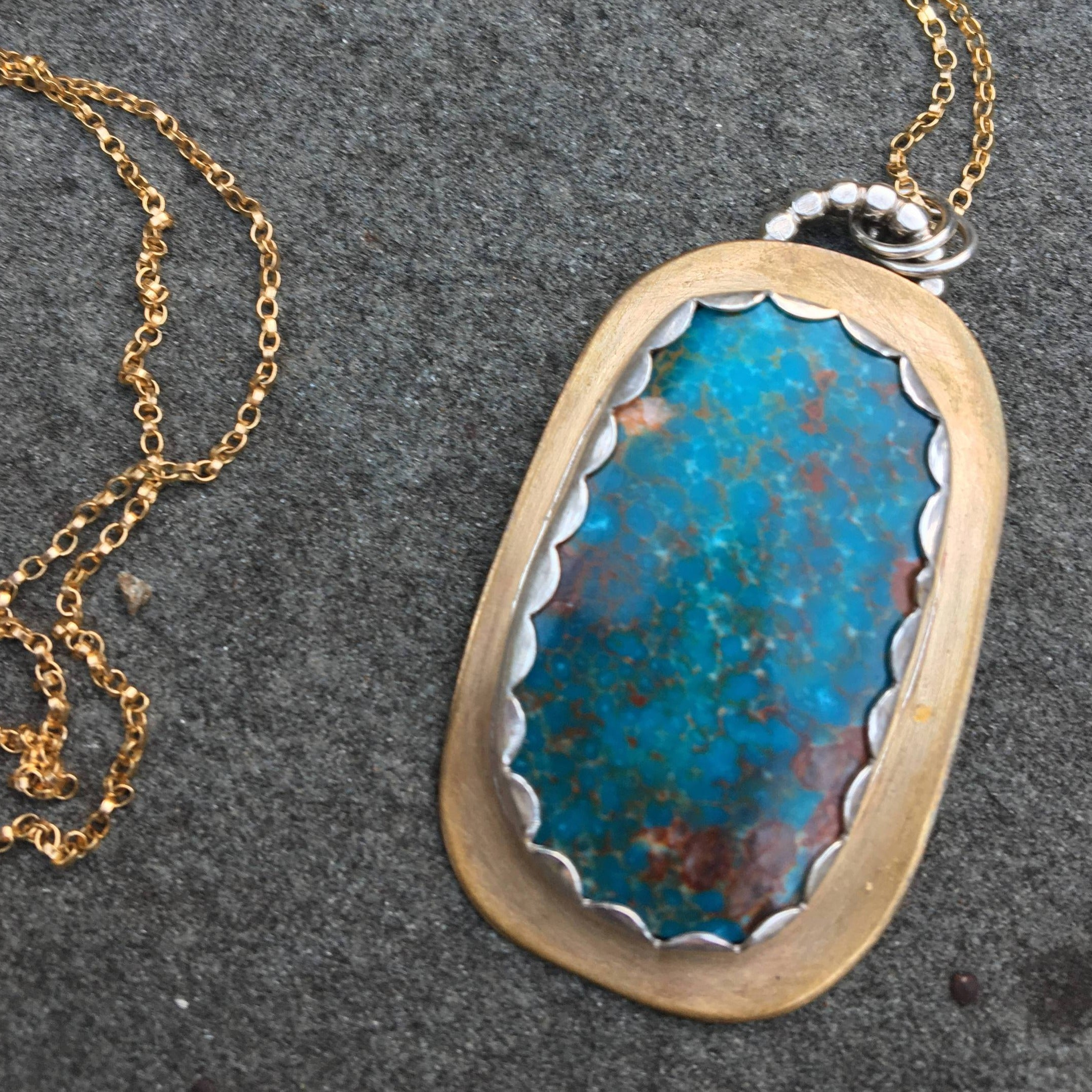 Danny Boy Turquoise Pendant, Sterling & Bronze Necklace