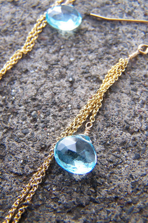 Swiss Blue Topaz & Gold Chain Earrings