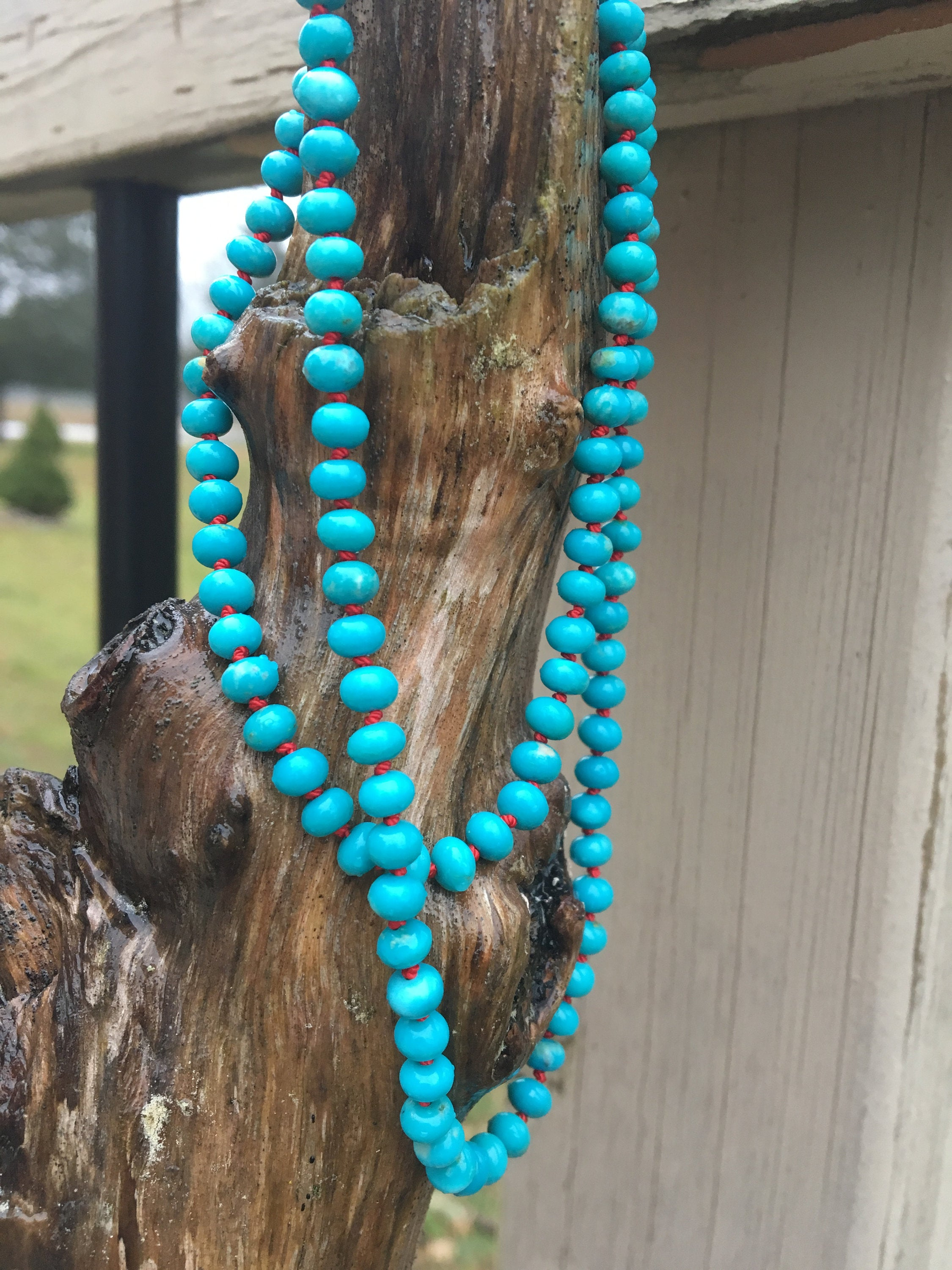 Fox Turquoise Hand Knotted Necklace | Beaded Turquoise Necklace