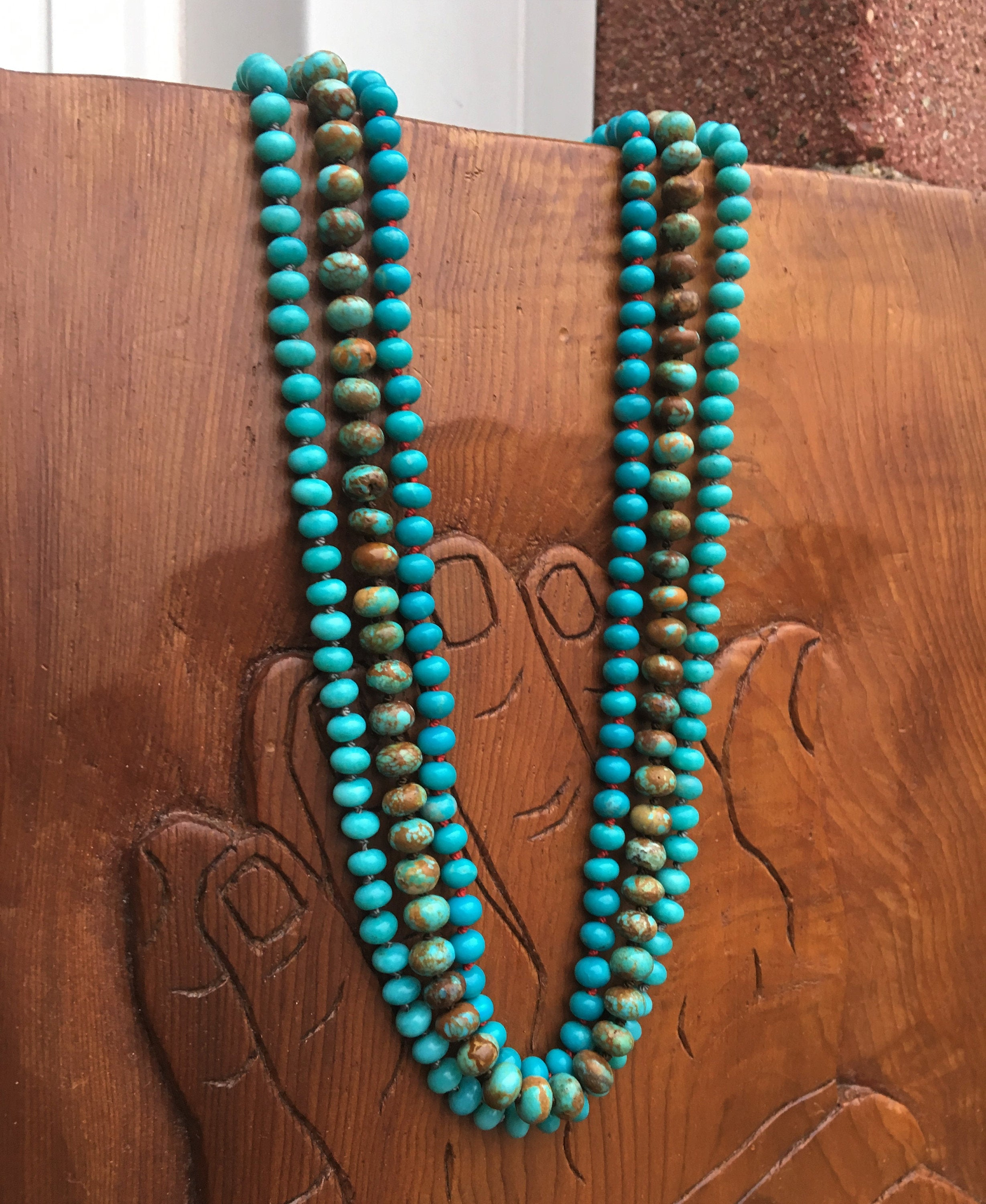 High Grade Mexican Turquoise Beaded Necklace | Turquoise Layering Necklace