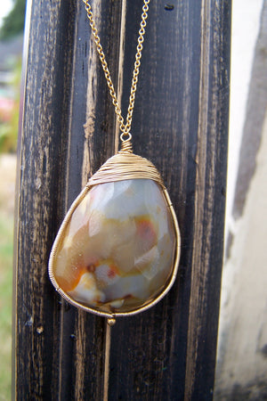 Gray/Brown Chalcedony necklace | Gold Filled Wire Wrapped Gemstone Necklace