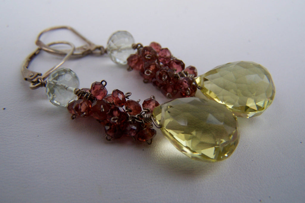 Lemon Quartz, Garnet & Green Amethyst Earrings