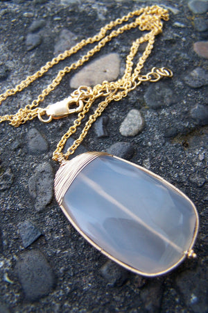 Lavender Chalcedony Necklace | Gold Wire Wrapped Gemstone Necklace