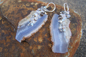 Blue Lace Agate Earrings | Gemstone Slab Earrings