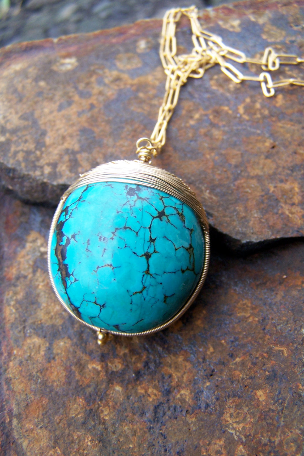 Wire Wrapped Long Turquoise Pendant Necklace