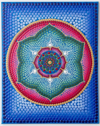 Lotus flower meditation dot Mandala, blue red green white