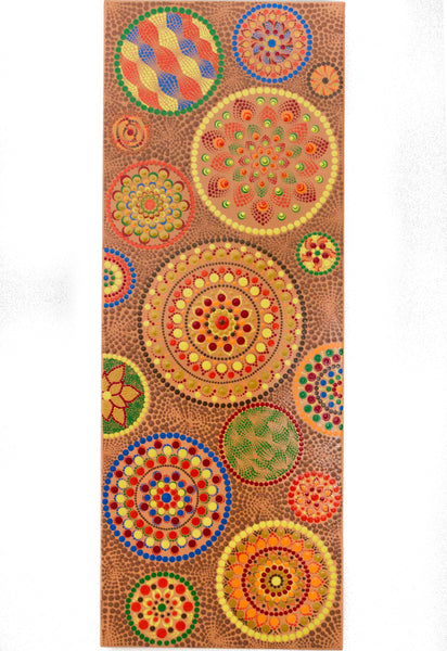 Large canvas with many dot Mandalas, colourful Mandalas on peach background
