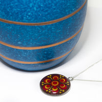 Colourful dotted pendant with sterling silver chain, red gold mandala pendant