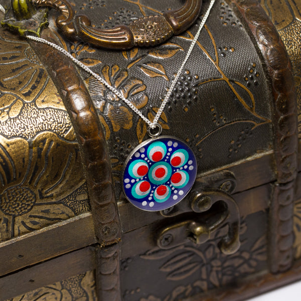 Red blue silver dot mandala resin pendant with sterling silver chain
