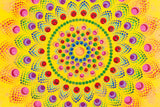 yellow red green purple pink brown colourful dot Mandala