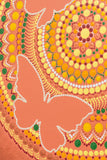 Butterfly dot mandala detail, orrange bronze yellow white green, glow in the dark