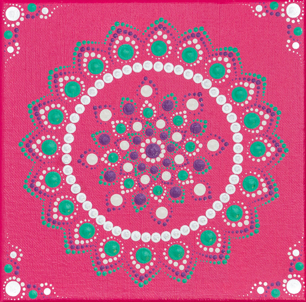Pink green white purple dot Mandala | Flower dot Mandala