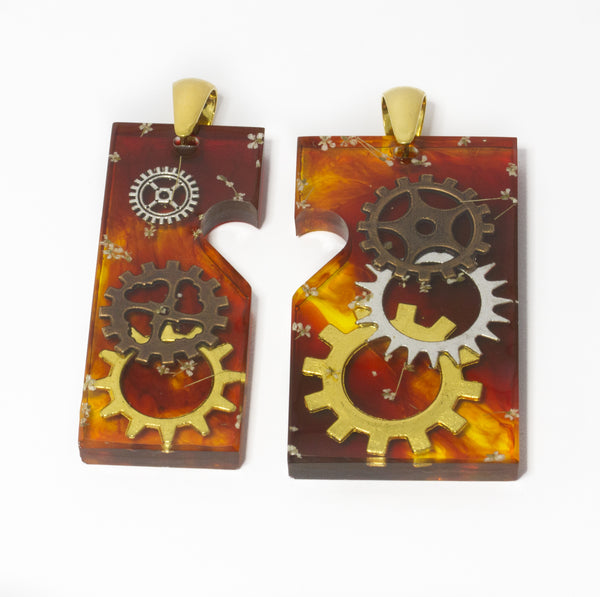 Steampunk pendant pair with gold plated sterling silver  pinch bail