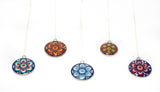 Colourful dot mandala pendants with sterling silver chain