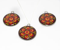 Red gold dotted mandala pendant with sterling silver chain