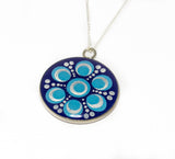 Blue silver dotted Mandala resin pendant with sterling silver chain