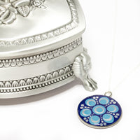 Blue silver dotted resin pendant with sterling silver chain